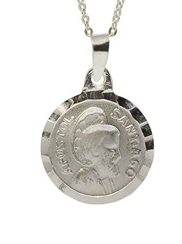 Sicuore Collar Colgante Santiago Apostol para Mujer Hombre - Plata de Ley 925 Incluye Cadena 45cm Y Estuche para Regalo