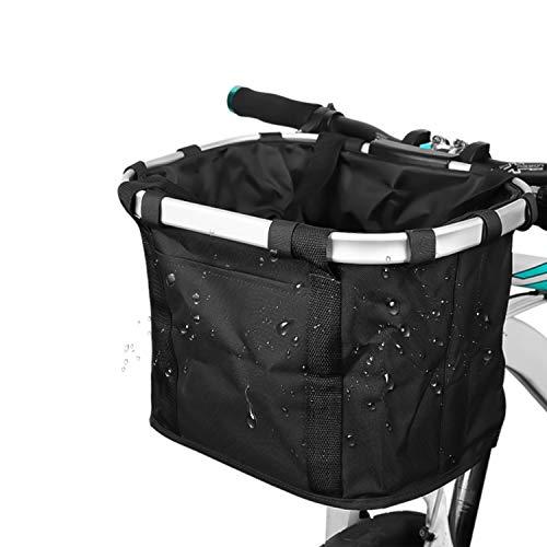 自転車 かご 前 取り外し可能 折りたたみ 巾着式 自転車 カゴ 防水 着脱式 耐荷重10KG ペット ショッピング 通勤 キャンプ アウトドア向け( 黒)