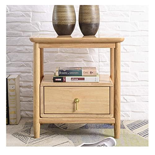 Mesa auxiliar Mesita de noche de madera maciza, mesa auxiliar de 2 niveles, mesa auxiliar con cajón, organizador de almacenamiento y estante abierto, mesita de noche para dormitorio, mesa auxiliar, fá