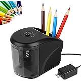 電動鉛筆刀、AC 電源適配器(包括)/含鉛筆夾的電池操作鉛筆刀,彩色鉛筆的重型刀片,適用於教室辦公室的必需學校用品
