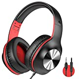 iClever HS18 Over Ear Headphones with Microphone - Foldable Lightweight Stereo Headphones, Adjustable Wired Headphones with 3.5mm Jack for Online Class/Meeting/iPad/Phone/Computer, Black&Red