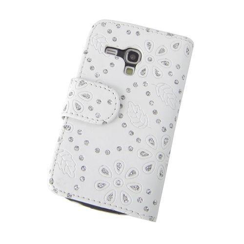 Unbekannt Etui de téléphone Portable Coque Samsung Galaxy S3 Mini i8190 Business Case Smartphone Case Strass Scintillants Clignotant Flip Brillant de Mode Chic Fleur Blanc Motif Floral