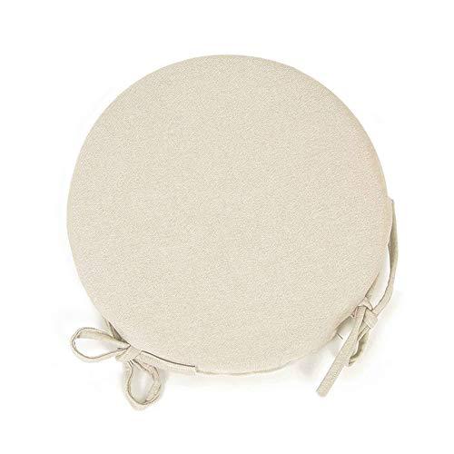 Arketicom (Set 4 pz Cuscini Sedie Cucina Rotondi Sfoderabili Cotone Poliestere Copri Sedia Tondo (Cuscino casa Giardino) Personalizzabili Spessore 3 cm Tessuto 40x3 (+ Lacci) Avorio