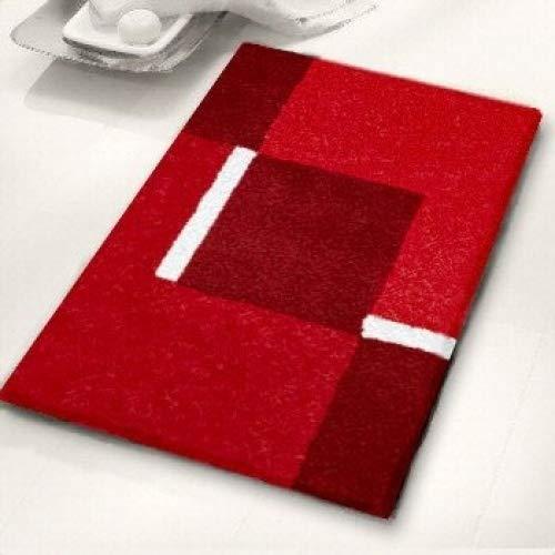 Kleine Wolke Badteppich, Acryl, Rot/Grau, 70 x 120 cm