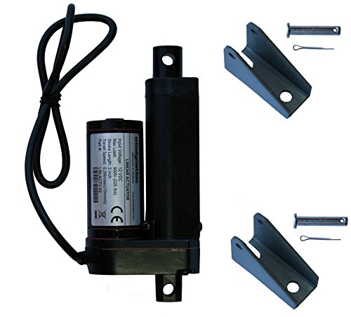 "2 Inch 2"" Stroke Linear Actuator 12 Volt 12V 225 Pounds lbs Maximum Lift (Includes Mounting Brackets)"