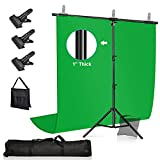 [Upgraded Clamps & SANDBAG Version] YICOE Green Screen with T-Shape Backdrop Stand, 3 Clamps & Sandbag, 5x6.5ft Chromakey Green Screen Kit Photography Background Support System for Photo Video Studio