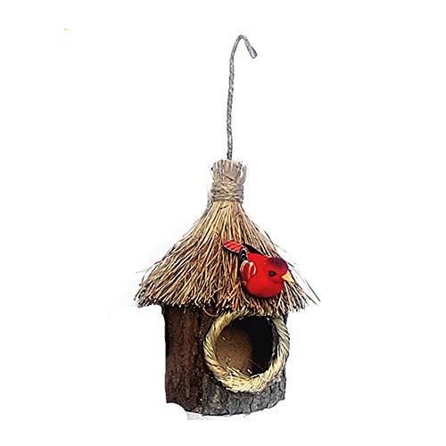GZGZADMC - Casa para pájaros de madera, para colgar pajas, nido de pájaros, casa de pájaros, decoración de jardín al aire libre, loro, canario, otros pájaros
