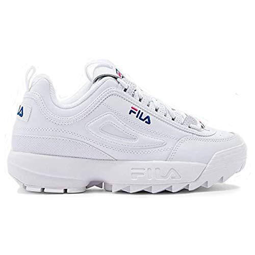 Fila Disruptor II Premium Womens White/Pink/Navy Sneakers (9.5)