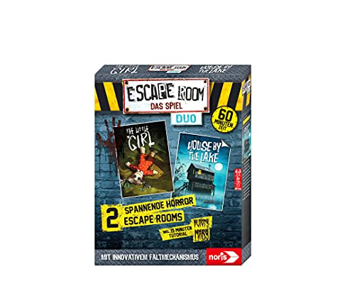 Noris 606101894 - Escape Room Duo Horror, Familien und Gesellschaftsspiel für Erwachsene, inkl. 2 Fällen und Promo Fall mit neuartigem Falt-Mechanismus, ab 16 Jahren