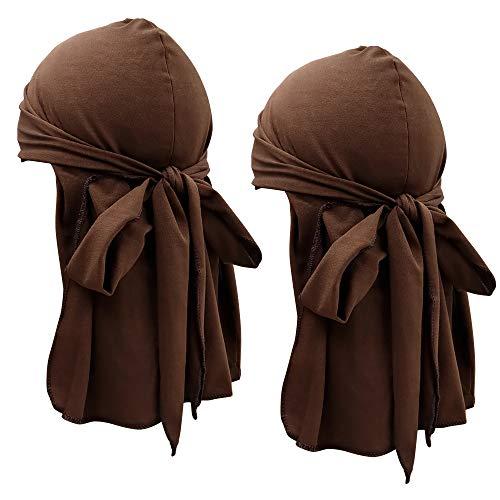 QMSILR Hair Scarf Elastic Head Scarf Headband Turbans for Women Long Hair Cotton Headscarf Headwear Cancer Hats Stay on Head Cap Girls Head Wrap Hair Accessories 2-Pack Brown