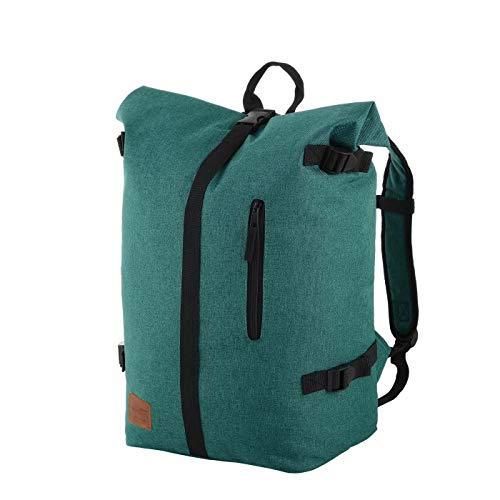 Rada Freizeitrucksack Rolltop RS/79, Daypack für Damen und Herren mit 25 Liter Volumen, wasserabweisender Schulrucksack für Mädchen und Jungen (Frog Green)
