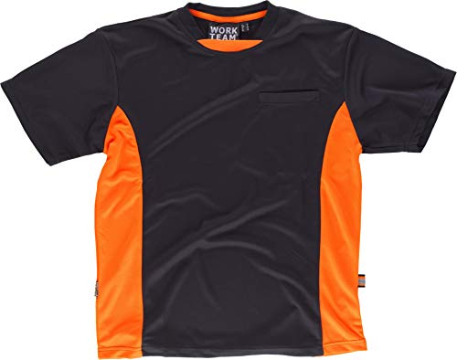 Camiseta Técnica de trabajo Work Team WF1616 (XL, Negro/Naranja AV)