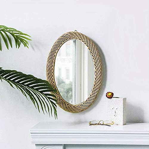 ZHOUSITONGEU Creative Art Decoration ronde spiegel Living Room Wall Opknoping Mirror, Style: Rattan elliptische spiegel S