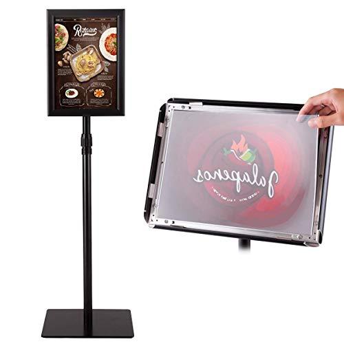 COSTWAY A4 Poster Stand Espositore da Pavimento Supporto Poster Menù per Pubblicità da Terra, Girevole a 360 Gradi, Regolabile in Altezza, Metallo (Nero)