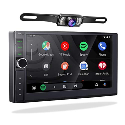 Double Din Car Stereo with Carplay Android Auto - 2G/32G 2 Din Android 10.0 7 Inch Touch Screen Car Radio Receiver System Bluetooth GPS Navigation Head Unit with Backup Camera FM/AM SWC WiFi USB SD