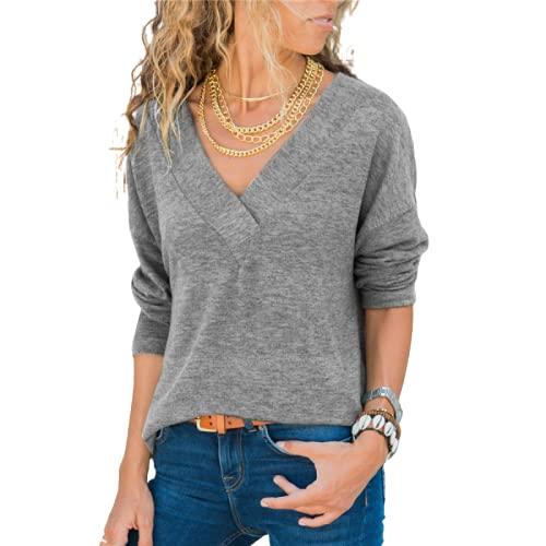 Damska bluzka z dekoltem w szpic z długimi rękawami Moda Jednolity kolor Prosty Codzienny Wygodny Trend Cały mecz Bluzka z puloweremXL