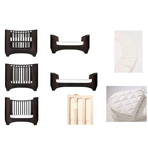 walnuss Leander Baby- und Kinderbett + 1 Set (= 2 Stück) Original-Spannbetttücher in der Babygröße + 1 Matratzenauflage in der Babygröße + Babynestchen in vanilla creme