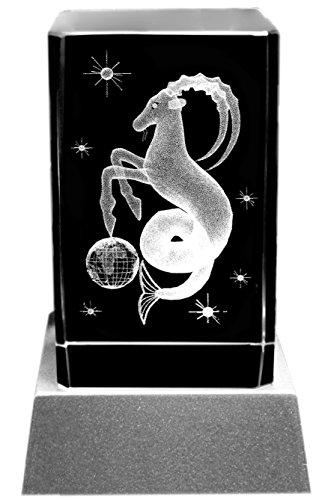 Kaltner Präsente - Placa decorativa con iluminación LED (cristal grabado por láser, imagen en relieve), diseño con símbolo del signo Capricornio