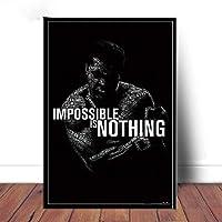 モハメドアリポスター動機付けの壁アートボクシングスポーツポスターボクサーワンパンチスターキャンバス絵画演習画像ホームジムの装飾40x60cmフレームなしEW7