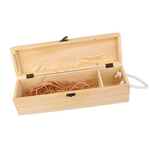 Gazechimp Envase de Almacenamiento del Portador de La Caja del Vino del Cajón de La Caja del Vino de Madera de Una Sola Botella Vacía