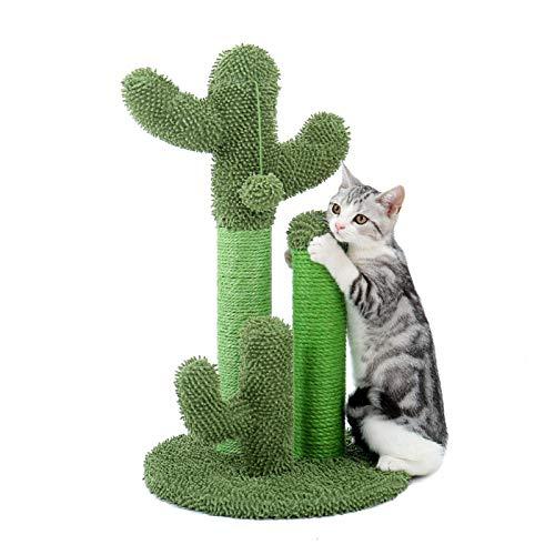 YUNDING Netter Kaktus-Haustier-Kratzbaum Mit Ballspielzeug Scratcher-Beiträge für Katzen Kätzchen Kletterbaum Katzenspielzeug Möbel Schützen(Color:EIN,Size:M.)