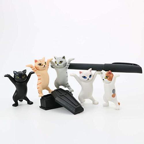 KFEK 5 Piezas de Baile de ataúd de Gato, Estuche rígido para bolígrafo, Figura de Gato Bailando, portalápices, Organizador de Escritorio, Juego de papelería de Gato para Adultos