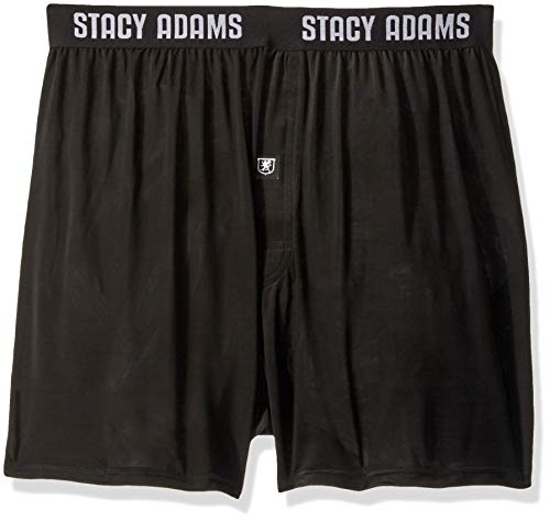 STACY ADAMS Men's Big and Tall Boxer Short, Black, 4X-Large