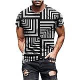 Men's Printed T-Shirt Fashion Mens Stylish 3D Digital Printed Design Pattern Graphic T-Shirts Top Tees Gray