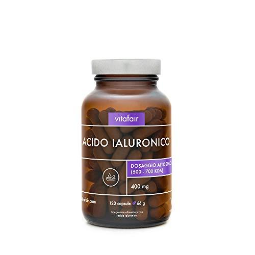 Acido Ialuronico - 400mg per Porzione - 120 Capsule - Dimensione molecolare 500-700 kDa - Anti-invecchiamento – Ad Alto Dosaggio - Vegano - Senza Sali di Magnesio - German Quality