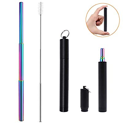 Morneve Collapsible Reusable Straws with Case Keychain, Portable Metal Stainless Steel Telescopic Straw for Yeti Smoothie Bubble Personal Drinking Straws with Cleaning Brush Silicone Tip Rose Gold