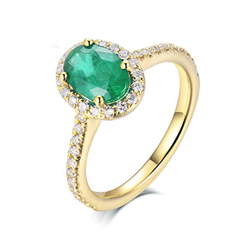 Beydodo Anillo de Compromiso Mujer,Anillo de Oro Amarillo Mujer 18 K Oro Verde Oval Esmeralda Verde 0.8ct Diamante 0.24ct Talla 22(Circuferencia 62MM)