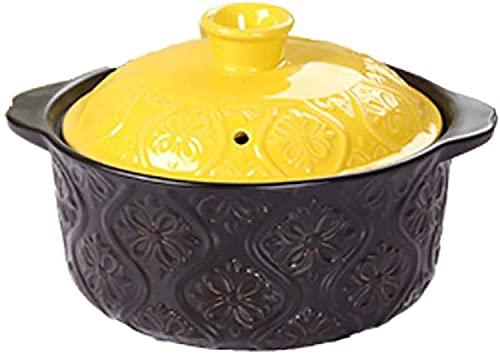 ywewsq Olla de Barro Cazuela de cerámica, Olla para Sopa con Tapa y asa Sartén para estofado Utensilios de Cocina saludables;para estofar Bibimbap de cocción Lenta Negro 1.055 (Color: Negro, Tamañ