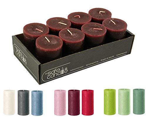 Velas rústicas de alta calidad – 8 unidades – Velas de cera/Rustickerz/velas de Adviento Navidad (rojo envejecido, pequeño: altura 8 cm / diámetro 6 cm)