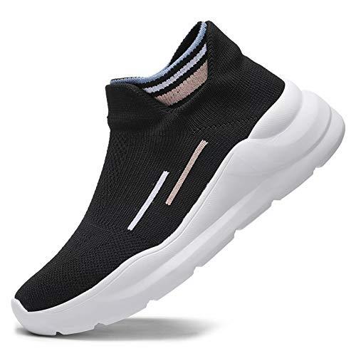 SANNAX Zapatos Mujer Zapatillas Casuales Zapatos Planos Correr Gimnasio Sneakers Zapatillas Deportivas Transpirables Cómoda,Negro 1,38 EU (Taglia del produttore39)