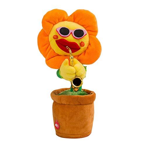 Lorenlli Kreative Bezaubernde Sonnenblume singende tanzende Blume mit Saxophon 80 Lieder Lustiges elektrisches Musikspielzeug Weiches Plüschtier