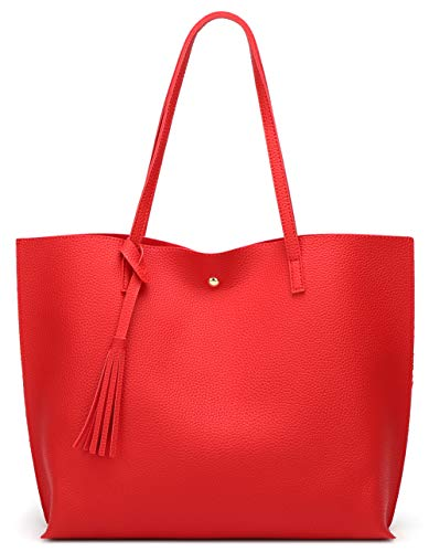 Women's Soft Faux Leather Tote Shoulder Bag from Dreubea, Big Capacity Tassel Handbag Red