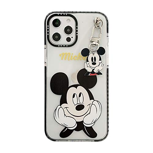 Max-ABC Compatible with iPhone 12 Pro Max Case Mickey Mouse Cartoon Cute TPU Ultra Thin Slim Protective Cover Clear Case with Mickey Pendant for iPhone 12 Pro Max 6.7'' (Black Ears)