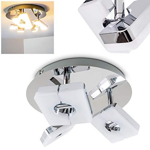 Preisvergleich Produktbild LED Deckenleuchte Turin,  runde Deckenlampe in Chrom,  3-flammig,  mit verstellbaren Strahlern,  3 x 6 Watt,  420 Lumen (1260 Lumen insgesamt),  Lichtfarbe 3000 Kelvin (warmweiß)