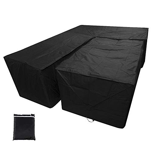 Photo of JTWEB New_Soul L Shaped Cover Patio Sofa Furniture Couch Cover 210D Waterproof Dustproof Polyester Garden Corner Sofa Couch Protector Cover with Storage Bag Black 215x215x87CM&155x95x68CM