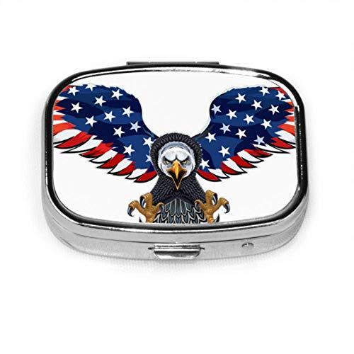 Preisvergleich Produktbild Pillendose American Eagle Usa Flags Niedliche Pillenhülle Tägliche Pille Tragbar für Taschengeldbörse Aktentasche Reisepillenbox