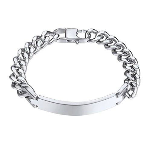 PROSTEEL Personalized Name Bracelet Stainless Steel Men Jewelry Cuban Link Hand Chain Gift Custom Engrave Customize ID Bracelets