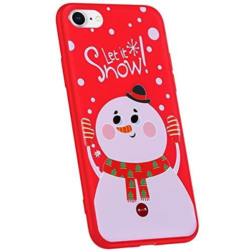 Jinghuash Compatibel met iPhone 7/iPhone 8 beschermhoes rood siliconen Handschuh Schneemann