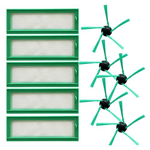 SONGHUA Chao AD-10 PCS/Lot, Robot Accesorios de aspiradora Accesorios Piezas de Polvo 5 x Filtro HEPA + 5 x Cepillo Lateral Ajuste para reemplazos de limpiadores VORWERK VR200 (Color : Multicolor)