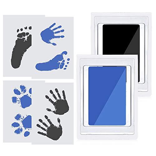 JustFine® Großer Baby Handabdruck und Fussabdruck set(schwarz+Blau), Pfotenabdruck Set Hund, Pfotenabdruck Set Katze, clean touch stempelkissen, sicher ungiftig Stempelkissen