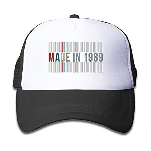 Xqsfl931 Made In 1989 Barcode Mesh Baseball Cap Kid Boys Girls Adjustable Golf Mesh Baseball Cap Kids Trucker Hat