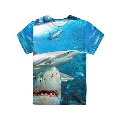 HUGS IDEA - Camisetas de manga corta para niños, ajuste regular y cuello en O, Jerséis para niños de 3 a 16 años Tiburón 5 9-10 Años