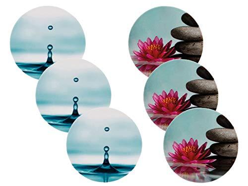 REV 6er Set Steckdosen Schutzabdeckung: 3X Motiv Tropfen + 3X Motiv Blume