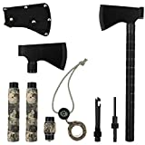 iunio Camping Axe, Hatchet with Sheath, Multi-Tool, Camp Ax, Survival Gear, Folding Portable Tools, for Hiking, Backpacking, Emergency, Hunting, Outdoor (Black)