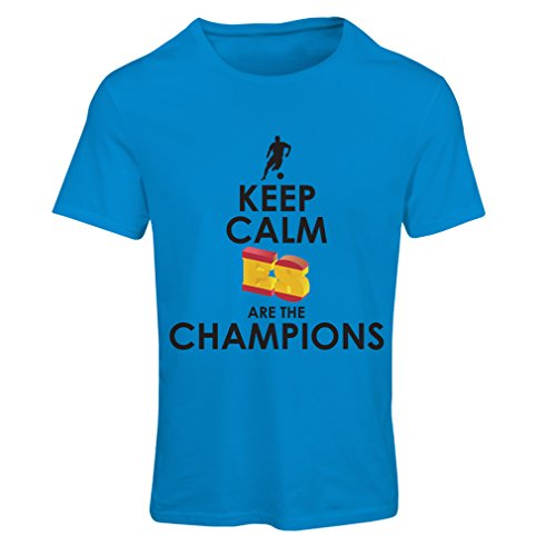 lepni.me Camiseta Mujer Españoles Son los campeones, Campeonato de Rusia 2018, Copa del Mundo - Equipo del fútbol de Camisa del admirador de España (XX-Large Azul Multicolor)