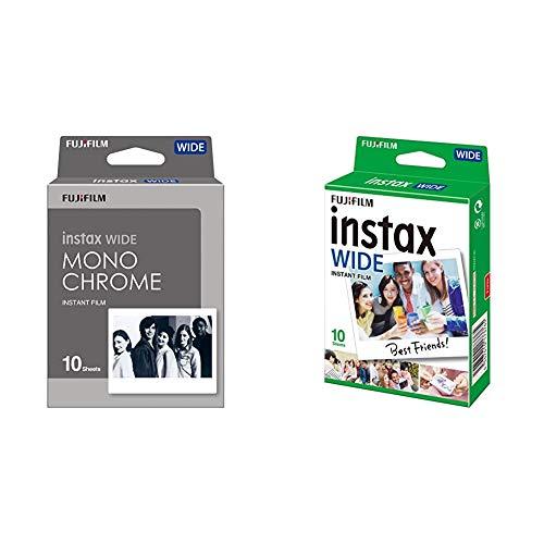 Fujifilm Instax Wide Monochrome - Película instantánea, Color Negro + m Instax Wide - Película fotográfica instantánea de Gran Formato (10 Hojas)